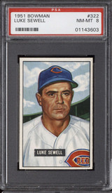 1951 Bowman #322 Luke Sewell MG PSA 8 NM-Mint