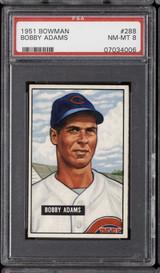 1951 Bowman #288 Bobby Adams PSA 8 NM-Mint  ID: 300005