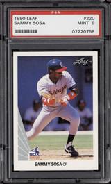 1990 Leaf #220 Sammy Sosa PSA 9 Mint RC Rookie  ID: 271892