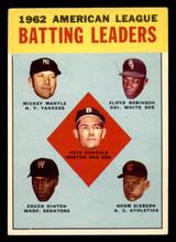 1963 Topps #2 Runnels/Mantle/Robinson/Hinton/Siebern AL Batting Leaders Excellent+  ID: 299613