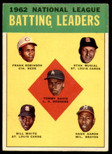 1963 Topps #1 Tommy Davis/Frank Robinson/Stan Musial/Bill White/Hank Aaron NL Batting Leaders Excellent  ID: 215325