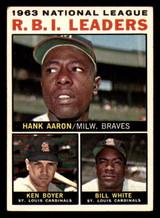 1964 Topps #11 Hank Aaron/Ken Boyer/Bill White NL R.B.I. Leaders Excellent+  ID: 276817