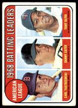1969 Topps #1 Carl Yastrzemski/Danny Cater/Tony Oliva A.L. Batting Leaders Very Good  ID: 263897