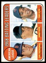 1969 Topps #1 Carl Yastrzemski/Danny Cater/Tony Oliva A.L. Batting Leaders Very Good  ID: 263900