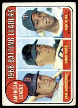 1969 Topps #1 Carl Yastrzemski/Danny Cater/Tony Oliva A.L. Batting Leaders Good  ID: 263898