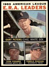 1964 Topps #2 Gary Peters/Juan Pizarro/Camilo Pascual AL E.R.A. Leaders Excellent  ID: 261416