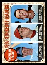 1968 Topps #12 Jim Lonborg/Sam McDowell/Dean Chance A.L. Strikeout Leaders Ex-Mint  ID: 285743