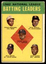 1963 Topps #1 Tommy Davis/Frank Robinson/Stan Musial/Bill White/Hank Aaron NL Batting Leaders G-VG