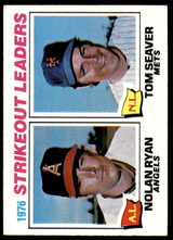 1977 Topps #6 Nolan Ryan/Tom Seaver Strikeout Leaders Excellent+  ID: 246052