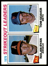 1977 Topps #6 Nolan Ryan/Tom Seaver Strikeout Leaders Excellent+  ID: 246054