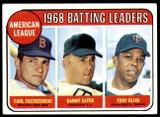 1969 Topps #1 Carl Yastrzemski/Danny Cater/Tony Oliva A.L. Batting Leaders Excellent+  ID: 211651