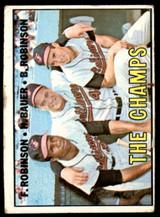 1967 Topps #1 Frank Robinson/Hank Bauer/Brooks Robinson The Champs DP G-VG  ID: 215482