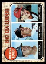1968 Topps #8 Joe Horlen/Gary Peters/Sonny Siebert A.L. ERA Leaders Excellent+  ID: 285732