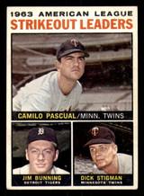 1964 Topps #6 Camilo Pascual/Jim Bunning/Dick Stigman AL Strikeout Leaders Very Good  ID: 281694