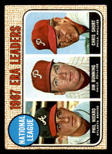1968 Topps #7 Phil Niekro/Jim Bunning/Chris Short N.L. ERA Leaders Very Good  ID: 285727