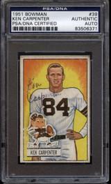 1951 Bowman #39 Ken Carpenter PSA/DNA Signed Auto Browns Card