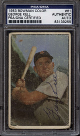 1953 Bowman Color #61 George Kell PSA/DNA Signed Auto Red Sox Card