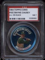 1964 Topps Coins #161 Wayne Causey AS PSA 7 Near Mint AL on Back ID: 122320