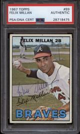 1967 Topps #89 Felix Millan PSA/DNA Signed Auto Braves