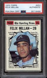 1970 Topps #452 Felix Millan PSA/DNA Signed Auto Braves All Star