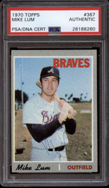 1970 Topps #367 Mike Lum PSA/DNA Signed Auto