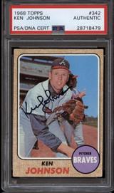 1968 Topps #342 Ken Johnson PSA/DNA Signed Auto Braves