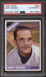 1966 Topps #286 Gary Geiger PSA/DNA Signed Auto Braves