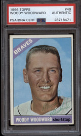 1966 Topps #49 Woody Woodward PSA/DNA Signed Auto Braves