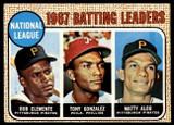 1968 Topps #1 Roberto Clemente/Tony Gonzalez/Matty Alou LL N.L. Batting Leaders EX++ Excellent++