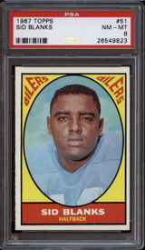 1967 Topps #51 Sid Blanks PSA 8 NM-Mint