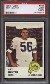 1961 Fleer #104 Art Hunter PSA 9oc Mint  ID: 127303