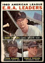 1964 Topps #2 Gary Peters/Juan Pizarro/Camilo Pascual AL E.R.A. Leaders Poor