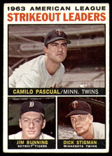 1964 Topps #6 Camilo Pascual/Jim Bunning/Dick Stigman AL Strikeout Leaders Poor