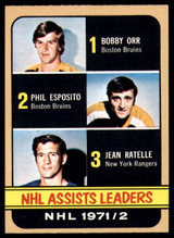 1972-73 Topps #62 Bobby Orr/Phil Esposito/Jean Ratelle LL NM+
