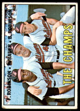 1967 Topps #1 Frank Robinson/Hank Bauer/Brooks Robinson The Champs DP Very Good  ID: 189502