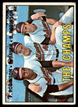 1967 Topps #1 Frank Robinson/Hank Bauer/Brooks Robinson The Champs DP Very Good  ID: 150047