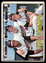 1967 Topps #1 Frank Robinson/Hank Bauer/Brooks Robinson The Champs DP Very Good  ID: 150048