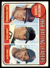 1969 Topps #1 Carl Yastrzemski/Danny Cater/Tony Oliva A.L. Batting Leaders Excellent  ID: 158076
