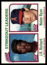 1980 Topps #206 J.R. Richard/Nolan Ryan LL Near Mint+  ID: 159255