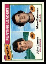1977 Topps #6 John James/Marv Bateman 1976 Punting Leaders Near Mint+