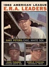1964 Topps #2 Gary Peters/Juan Pizarro/Camilo Pascual AL E.R.A. Leaders Excellent+