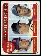 1969 Topps #1 Carl Yastrzemski/Danny Cater/Tony Oliva A.L. Batting Leaders Very Good  ID: 180683