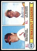 1979 Topps #6 Nolan Ryan/J.R. Richard Strikeout Leaders Ex-Mint  ID: 152197