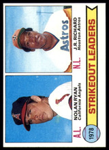 1979 Topps #6 Nolan Ryan/J.R. Richard Strikeout Leaders Ex-Mint  ID: 152198