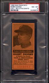 1958 San Francisco Giants Call-Bulletin RUBEN GOMEZ PSA 8 NM-Mint