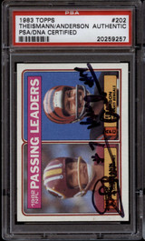 1983 Topps #202 Joe Theismann Ken Anderson PSA/DNA Signed Auto Passing Leaders Dual Signed!