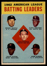 1963 Topps #2 Runnels/Mantle/Robinson/Hinton/Siebern AL Batting Leaders NM