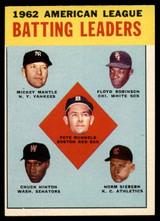1963 Topps #2 Runnels/Mantle/Robinson/Hinton/Siebern AL Batting Leaders EX/NM