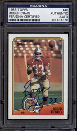1988 Topps #40 Roger Craig PSA/DNA Signed Auto 49ers