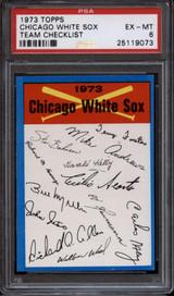 1973 Topps Team Checklist Chicago White Sox Blue PSA 6 EX-Mint